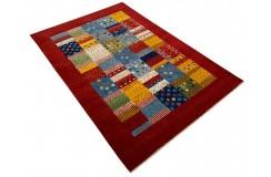 Ekskluzywny dywan Gabbeh Loribaft Patchowrk Indie 140x200cm 100% wełniany czerwony, kolorowy