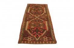Wzorzysty dywan kilim ludowy chodnik 126x263cm z Afganistanu Maimane 100% wełna dwustronny nomadyczny