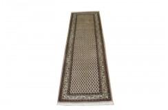 Beżowy piękny dywan Saruk Mir z Indii ok 90x300cm 100% wełna oryginalny ręcznie tkany perski wzór