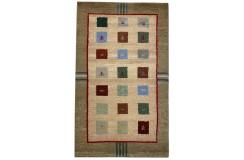 Kolorowy dywan Gabbeh z Indii 100% wełna argentyńska 90x160cm w kwadraty
