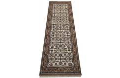 Wełniany ręcznie tkany dywan Herati z Indii 80x250cm orientalny beżowy