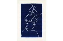 Designerski nowoczesny dywan wełniany TWO FACES 3D 120x180cm Indie 2cm gruby niebieski