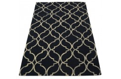 Marokańska koniczyna czarny dywan RUG COLLECTION do salonu 100% wełniany 150x240cm Indie