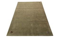 Gładki 100% wełniany dywan Gabbeh Handloom szaro-brązowy 170x240cm delikatne motywy zwierzęce