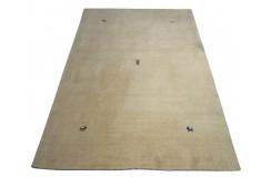 Gładki 100% wełniany dywan Gabbeh Loribaft beżowy 170x240cm delikatne motywy zwierzęce