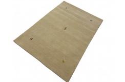 Gładki 100% wełniany dywan Gabbeh Loribaft beżowy 120x180cm delikatne motywy zwierzęce