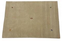 Gładki 100% wełniany dywan Gabbeh Loribaft beżowy 140x200cm delikatne motywy zwierzęce