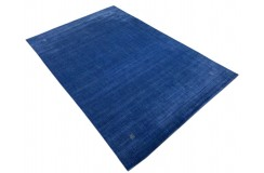 Gładki 100% wełniany dywan Gabbeh Handloom Lori niebieski 200x300cm delikatne motywy etniczne
