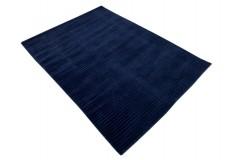 Gładki 100% wełniany dywan Gabbeh Lori Premium Handloom granatowy 140x200m tłoczenia w pasy