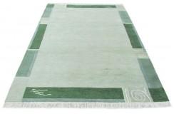 100% welniany ręcznie tkany dywan Nepal Tybet 160x230cm nowoczesny zielony