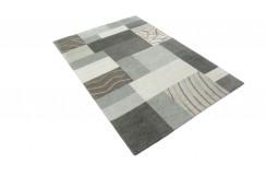 100% welniany ręcznie tkany dywan Nepal Tybet Premium szary 120x180cm patchwork