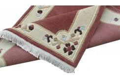 100% welniany ręcznie tkany dywan Nepal Premium ciemnoróżowy 70x140cm klasyczny