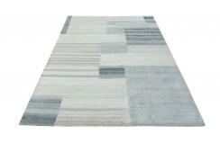 100% welniany ręcznie tkany dywan Nepal Tybet Premium szary 160x230cm patchwork do salonu