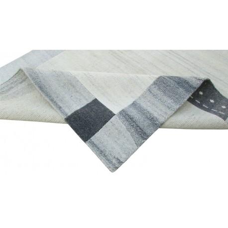 100% welniany ręcznie tkany dywan Nepal Tybet 160x220cm nowoczesny wzór szary