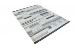 100% welniany ręcznie tkany dywan Nepal Tybet Premium szary 170x230cm patchwork do salonu