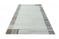 100% welniany ręcznie tkany dywan Nepal Tybet 163x225cm szary, beżowy
