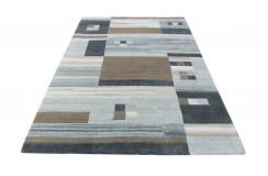 100% welniany ręcznie tkany dywan Nepal Tybet Premium brązowy szary 160x230cm patchwork do salonu