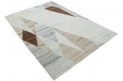 100% welniany ręcznie tkany dywan Nepal Tybet Premium brązowy szary beżowy 160x230cm patchwork trójkąty