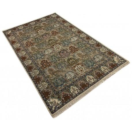 Wełniany ręcznie tkany dywan Indo-Baktjar w kwatery 230x300cm orientalny pistacjowy