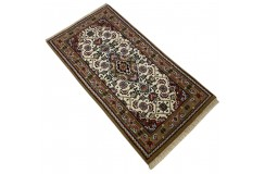 Wełniany ręcznie tkany dywan Bidjar Herati z Indii 70x140cm orientalny beżowy