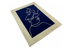 Designerski nowoczesny dywan wełniany TWO FACES 3D 200x300cm Indie 2cm gruby niebieski