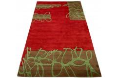 Designerski nowoczesny dywan wełniany kolorowy Patchwork Flowers 155x245cm Indie 2cm gruby