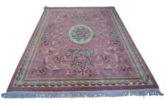Piękny dywan Aubusson Habei ręcznie tkany z Chin 180c280cm 100% wełna przycinany rzeźbione kwiaty różowy
