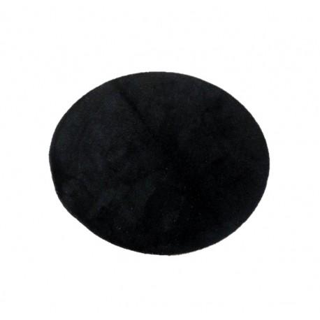 Gładki czarny dywan 100% wełniany, okrągły średnica 125cm Indie