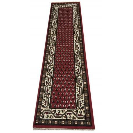 Wełniany ręcznie tkany dywan Mir z Indii 80x300cm orientalny czerwony