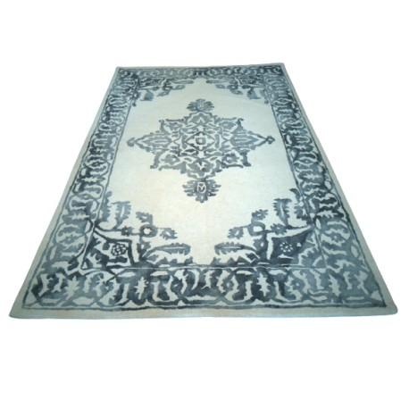 100% wełniany nowoczesny dywan gruby w wzory vintage cieniowany 155x240cm beżowy
