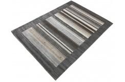 Szary ekskluzywny dywan Gabbeh Loribaft Indie 140x200cm wełniany i jedwab z połyskiem luksusowy