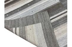Brązowy biały ekskluzywny dywan Gabbeh Loribaft Indie 200x300cm wełniany i jedwab z połyskiem luksusowy
