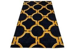 Designerski nowoczesny dywan wełniany Art Deco 155x245cm Indie 2cm gruby niebieski ciemny
