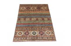 Dywan Ziegler Arijana Shaal 100% wełna kamienowana ręcznie tkany luksusowy 150x200cm kolorowy w pasy