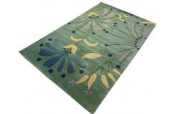 Designerski nowoczesny dywan wełniany Flowers green 245x305cm Indie 2cm gruby