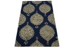 Kolorowy brązowy dywan RUG COLLECTION do salonu design w kwiaty 100% wełna 150x240cm Indie