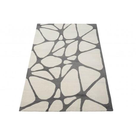 Dwukolorowy dywan abstrakcyjny szaro beżowy 100% wełniany tafting 160x230cm