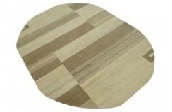 100% welniany ręcznie tkany dywan Nepal Premium beż brąz 170x230cm owalny
