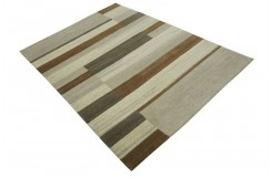 100% welniany ręcznie tkany dywan Nepal Premium brązowy 170x240cm geometryczny
