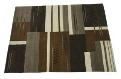 100% welniany ręcznie tkany dywan Nepal Premium brązowy 140x200cm geometryczny