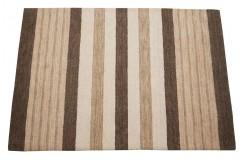 Dywan w pasy brązowy 100% wełna Gabbeh tafting 140x200cm