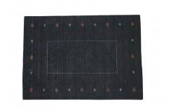 Grafitowy ekskluzywny dywan Gabbeh Loribaft Indie 140x200cm 100% wełniany