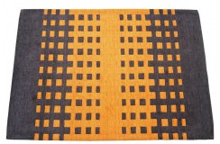 Grafitowy pomarańczowy nowoczesnyd dywan do salonu 100% wełniany tafting 140x200cm