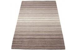 Nowoczesny beżowo brązowy dywan w pasy do salonu 100% wełniany tafting 160x230cm