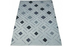 Nowoczesny beżowo fioletowy dwupoziomowy dywan do salonu 100% wełniany tafting 160x230cm