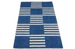 Nowoczesny beżowo niebieski dwupoziomowy dywan do salonu 100% wełniany tafting 150x230cm