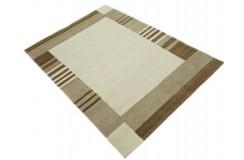 100% welniany ręcznie tkany dywan Nepal Premium beżowy brązowy 140x200cm geometryczny