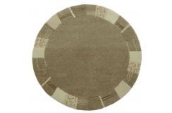 100% welniany ręcznie tkany dywan Nepal Premium beż brąz 100x100cm okrągły