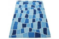 Nowoczesny niebieski dywan do salonu 100% wełniany tafting 160x230cm