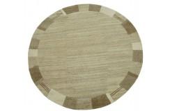 100% welniany ręcznie tkany dywan Nepal Premium beż brąz 200x200cm okrągły